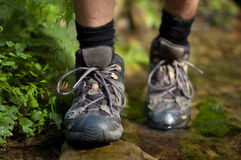 Hiking boots in an outdoor action Stock Image