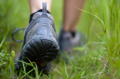 Hiking boots in an outdoor action. Closeup of a hiking shoes in a grass Royalty Free Stock Image