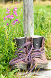 Hiking boots on a path in nature stock photos