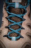 Hiking boots shoelace. Extreme close up of hiking boots shoelace Stock Photography