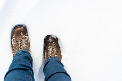 Hiking boots in the snow Royalty Free Stock Photography
