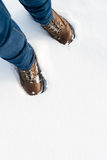 Hiking boots in the snow Stock Photos