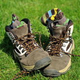 Hiking boots and socks Royalty Free Stock Photos