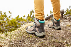 Hiking boots on trails Stock Photos