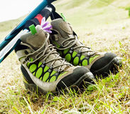 Hiking Boots with Trekking Poles Stock Images