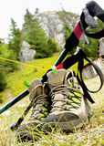 Hiking Boots with Trekking Poles Royalty Free Stock Photos