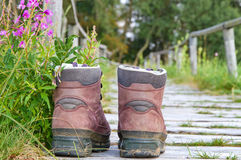 Hiking boots on a way Stock Photography