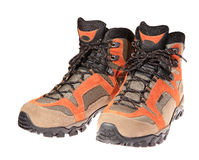 Hiking boots on the white background Royalty Free Stock Image