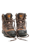 Hiking boots. Worn hiking boots, wet from walking in the rain Stock Images