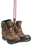 Hiking boots. Worn hiking boots, wet from walking in the rain Royalty Free Stock Image