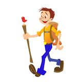 Hiking boy isolated Royalty Free Stock Images