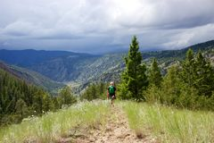 Hiking in British Columbia's Cariboo Chilcotin region. A hiker walks down a trail through tall grass on a ridge in central British Columbia, Canada's Cariboo Stock Image