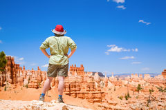 Hiking in Bryce Canyon. A woman is admiring the view of Bruce Canyon in Utah Royalty Free Stock Image
