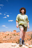 Hiking in Bryce Canyon. A woman is hiking through Bruce Canyon in Utah Stock Photography