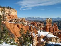Hiking at Bryce canyon national park on a winter windy day. stock photo