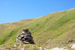 Hiking cairn. Trail indicator Royalty Free Stock Photo