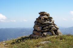 Hiking cairn. Trail indicator Royalty Free Stock Images