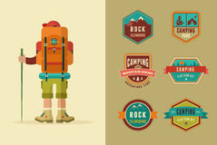 Hiking, camp badges - set of icons and elements Royalty Free Stock Photos