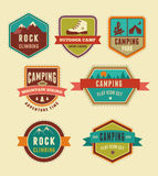 Hiking, camp badges - set of icons and elements Stock Images