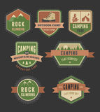 Hiking, camp badges - set of icons and elements Stock Photo