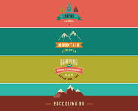 Hiking, camp banners, backgrounds and elements Royalty Free Stock Photos