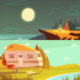Hiking And Camping Banners Set. Hiking and camping cartoon horizontal banners set with trailer and tent isolated vector illustration Royalty Free Stock Photography