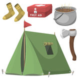 Hiking camping equipment base camp gear and accessories outdoor cartoon travel vector illustration. Royalty Free Stock Images