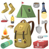 Hiking camping equipment base camp gear and accessories outdoor cartoon travel vector illustration. Hiking icon camping equipment base camp gear and accessories Stock Photography