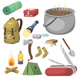 Hiking camping equipment base camp gear and accessories outdoor cartoon travel vector illustration. Hiking icon camping equipment base camp gear and accessories Royalty Free Stock Photo