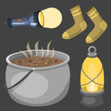 Hiking camping equipment base camp gear and accessories outdoor cartoon travel vector illustration. Stock Images