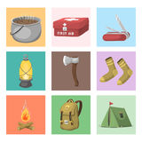 Hiking camping equipment base camp gear and accessories outdoor cartoon travel vector illustration. Royalty Free Stock Image