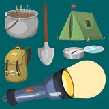 Hiking camping equipment base camp gear and accessories outdoor cartoon travel vector illustration. Hiking icon camping equipment base camp gear and accessories Stock Photo