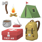 Hiking camping equipment base camp gear and accessories outdoor cartoon travel vector illustration. Hiking icon camping equipment base camp gear and accessories Stock Image