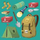 Hiking camping equipment base camp gear and accessories outdoor cartoon travel vector illustration. Hiking icon camping equipment base camp gear and accessories Royalty Free Stock Photos