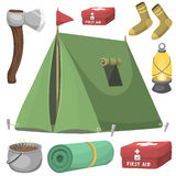 Hiking camping equipment base camp gear and accessories outdoor cartoon travel vector illustration. Stock Image