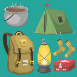 Hiking camping equipment base camp gear and accessories outdoor cartoon travel vector illustration. Royalty Free Stock Photo