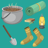 Hiking camping equipment base camp gear and accessories outdoor cartoon travel vector illustration. Hiking icon camping equipment base camp gear and accessories Stock Images