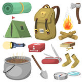 Hiking camping equipment base camp gear and accessories outdoor cartoon travel vector illustration. Hiking icon camping equipment base camp gear and accessories Royalty Free Stock Photography