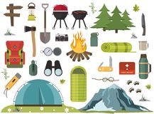 Hiking camping equipment  campfire base camp gear and accessories illustration. Hike outdoor travel climbing elements. Forest tourism vacation adventure. Scout Royalty Free Stock Photography