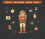 Hiking and camping equipment  - icon set and Stock Image