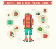 Hiking and camping equipment  - icon set and Stock Photo