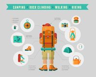 Hiking and camping equipment  - icon set and Stock Images