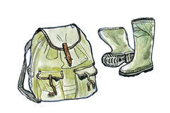 Hiking and camping equipment, watercolor illustration. Hiking and camping equipment. Watercolor illustration isolated on white background Royalty Free Stock Images
