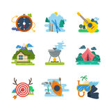 Hiking, camping flat vector icons collection Stock Photography