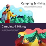 Hiking Camping Horizontal Banners. Hiking camping horizontal abstract colorful banners set with tourist in forest tent open fire isolated vector illustration Stock Photography