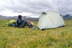 Hiking and camping in Hornstrandir Stock Image