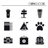 Hiking and Camping Icons Set. Outdoor Camp Sign and Symbol. Backpacking Adventure. Hiking and Camping Icons Set. Outdoor Camp Sign and Symbol. Backpacking Stock Photos