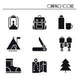 Hiking and Camping Icons Set. Outdoor Camp Sign and Symbol. Backpacking Adventure. Hiking and Camping Icons Set. Outdoor Camp Sign and Symbol. Backpacking Royalty Free Stock Photography