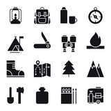 Hiking and Camping Icons Set. Outdoor Camp Sign and Symbol. Backpacking Adventure. Hiking and Camping Icons Set. Outdoor Camp Sign and Symbol. Backpacking Royalty Free Stock Photo