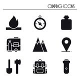 Hiking and Camping Icons Set. Outdoor Camp Sign and Symbol. Backpacking Adventure. Hiking and Camping Icons Set. Outdoor Camp Sign and Symbol. Backpacking Royalty Free Stock Image